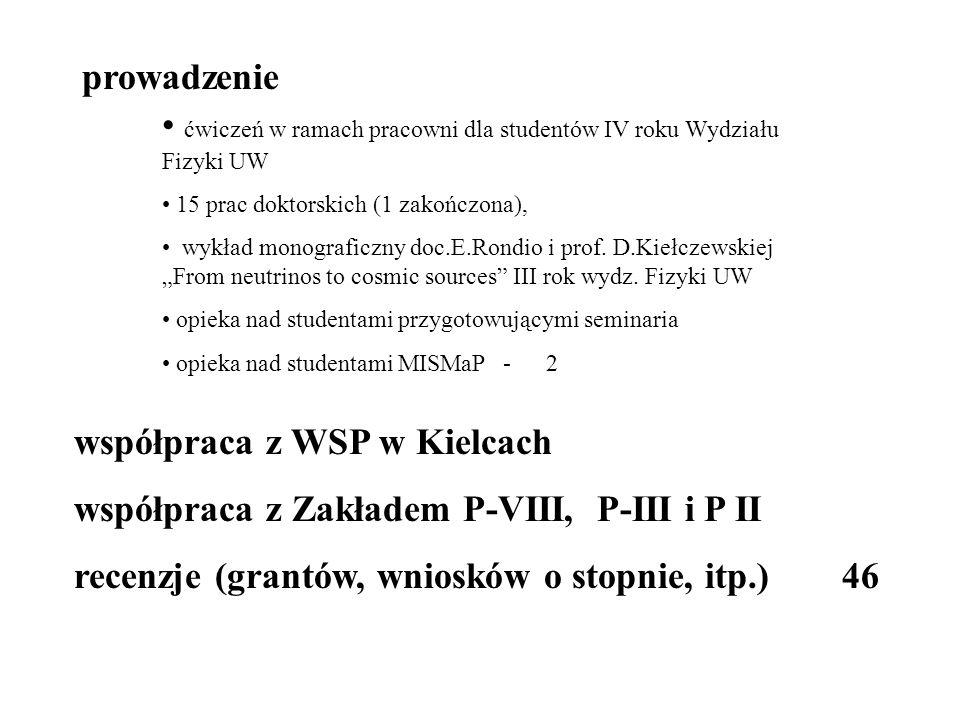 prowadzenie ćwiczeń w ramach pracowni dla studentów IV roku Wydziału Fizyki UW 15 prac doktorskich (1 zakończona), wykład monograficzny doc.E.Rondio i prof.