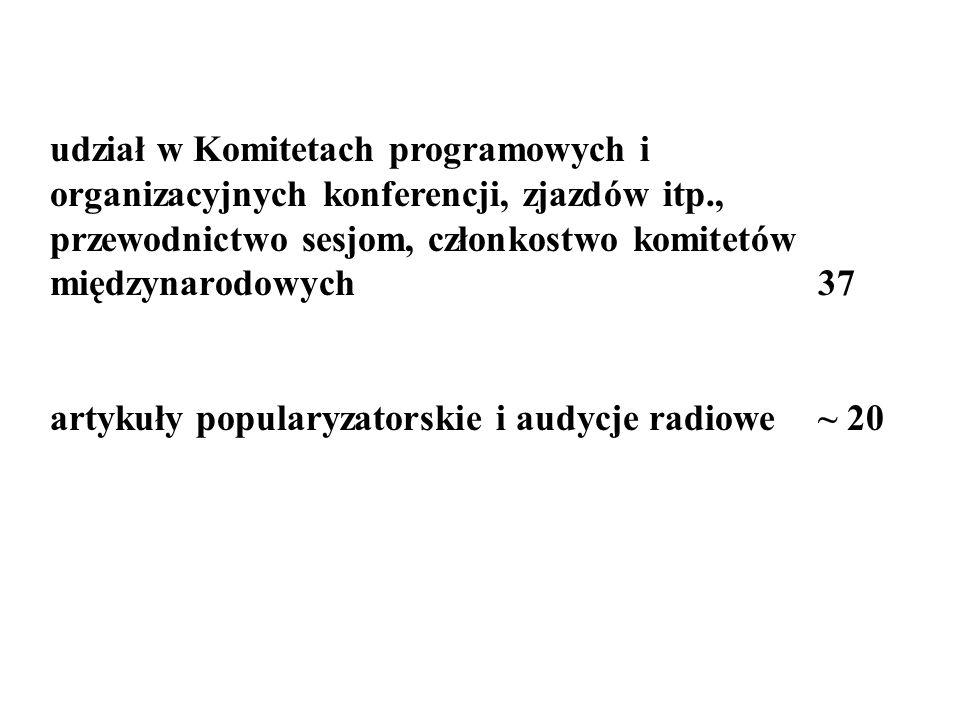 udział w Komitetach programowych i organizacyjnych konferencji, zjazdów itp., przewodnictwo sesjom, członkostwo komitetów międzynarodowych 37 artykuły popularyzatorskie i audycje radiowe ~ 20