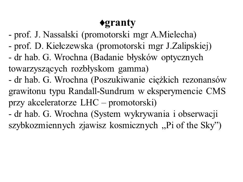 granty - prof. J. Nassalski (promotorski mgr A.Mielecha) - prof.