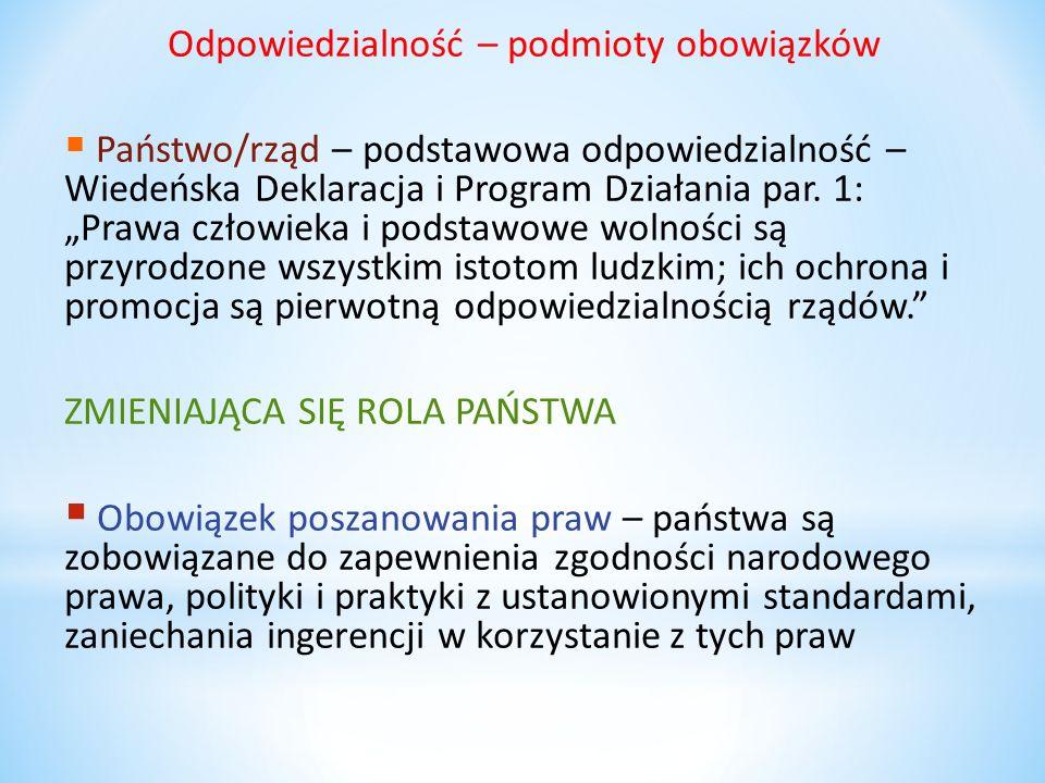 Odpowiedzialność – podmioty obowiązków Państwo/rząd – podstawowa odpowiedzialność – Wiedeńska Deklaracja i Program Działania par. 1: Prawa człowieka i