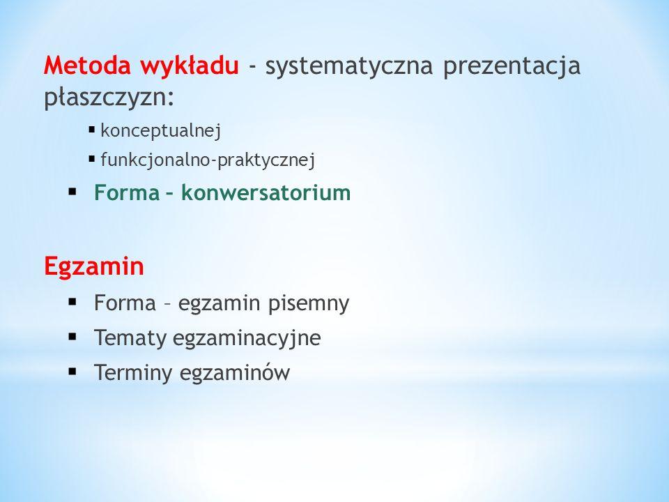 Metoda wykładu - systematyczna prezentacja płaszczyzn: konceptualnej funkcjonalno-praktycznej Forma – konwersatorium Egzamin Forma – egzamin pisemny T