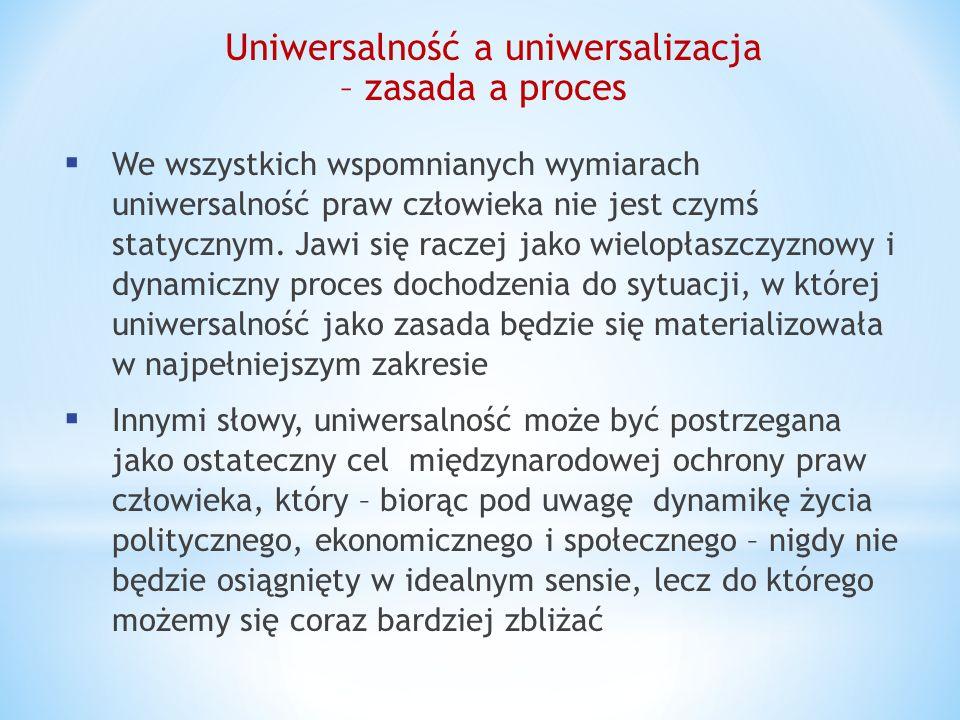Uniwersalność a uniwersalizacja – zasada a proces We wszystkich wspomnianych wymiarach uniwersalność praw człowieka nie jest czymś statycznym. Jawi si