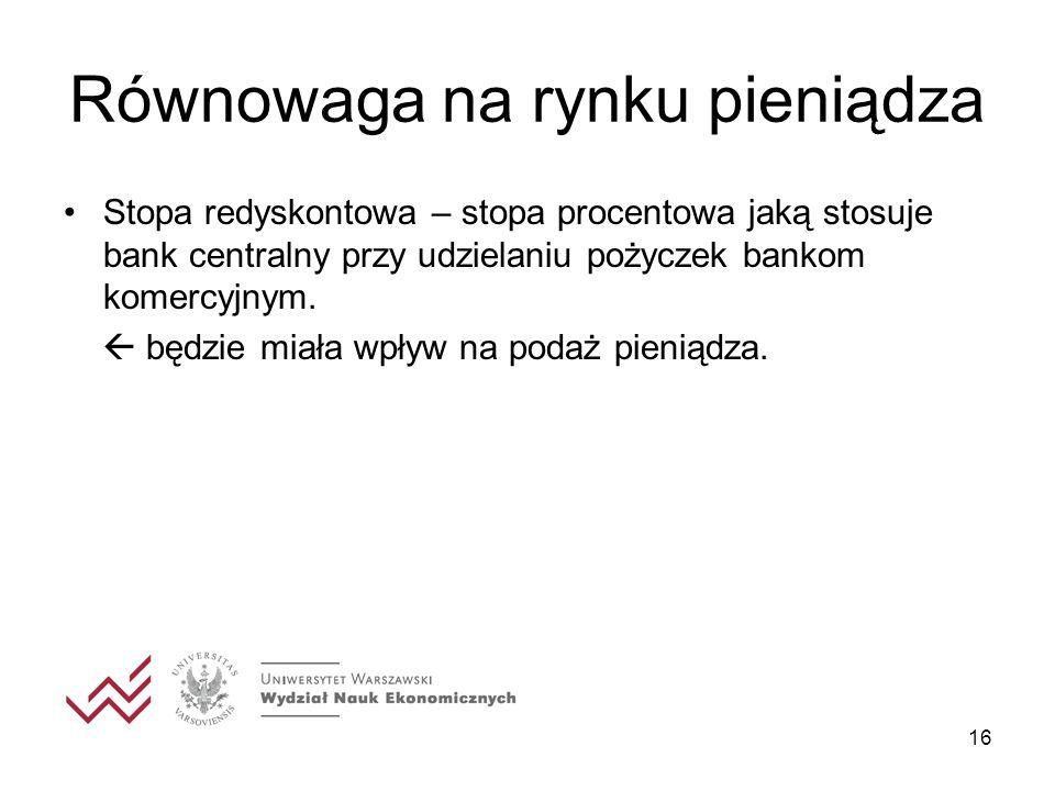 16 Równowaga na rynku pieniądza Stopa redyskontowa – stopa procentowa jaką stosuje bank centralny przy udzielaniu pożyczek bankom komercyjnym. będzie
