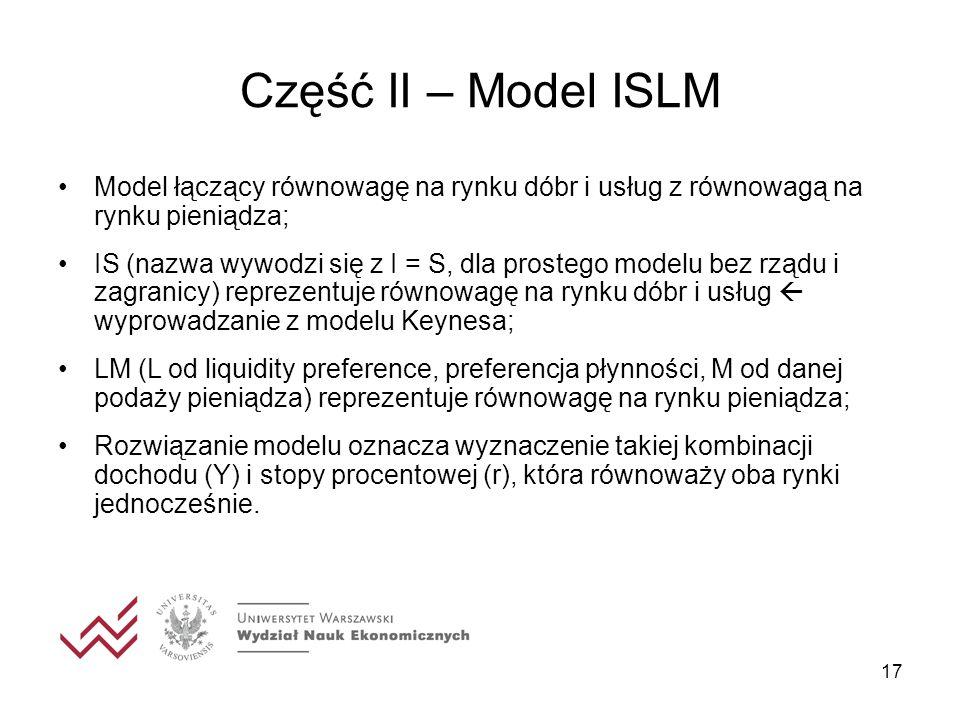 Część II – Model ISLM 17 Model łączący równowagę na rynku dóbr i usług z równowagą na rynku pieniądza; IS (nazwa wywodzi się z I = S, dla prostego mod
