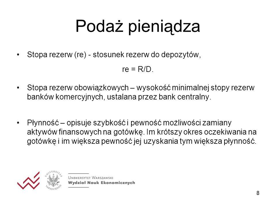 8 Podaż pieniądza Stopa rezerw (re) - stosunek rezerw do depozytów, re = R/D. Stopa rezerw obowiązkowych – wysokość minimalnej stopy rezerw banków kom