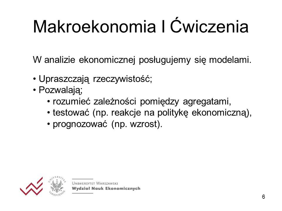 6 Makroekonomia I Ćwiczenia W analizie ekonomicznej posługujemy się modelami.