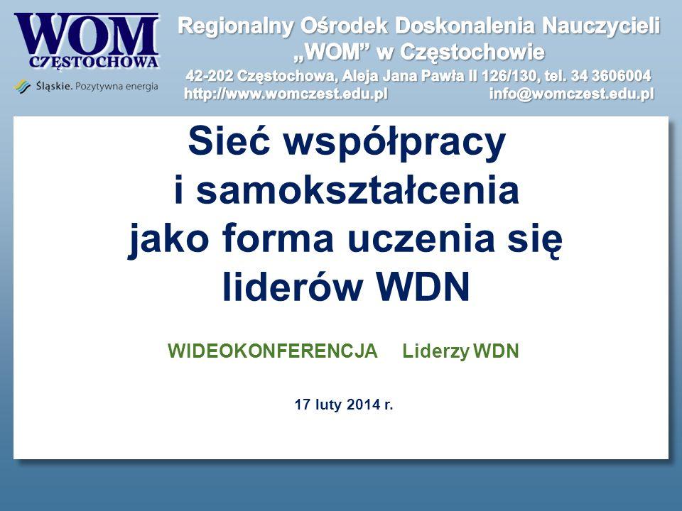 Sieć współpracy i samokształcenia jako forma uczenia się liderów WDN WIDEOKONFERENCJA Liderzy WDN 17 luty 2014 r.