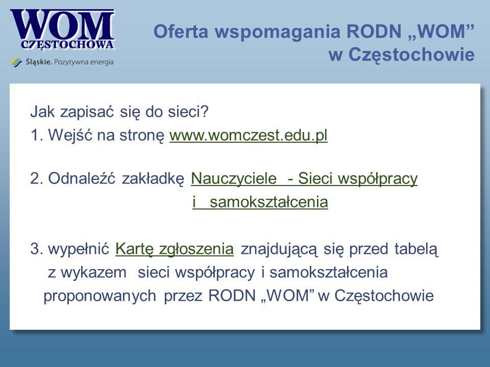 Oferta wspomagania RODN WOM w Częstochowie Jak zapisać się do sieci.