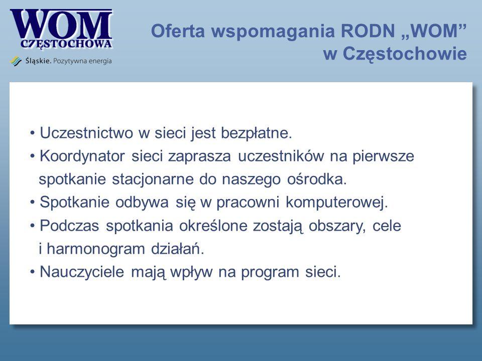 Oferta wspomagania RODN WOM w Częstochowie Uczestnictwo w sieci jest bezpłatne.