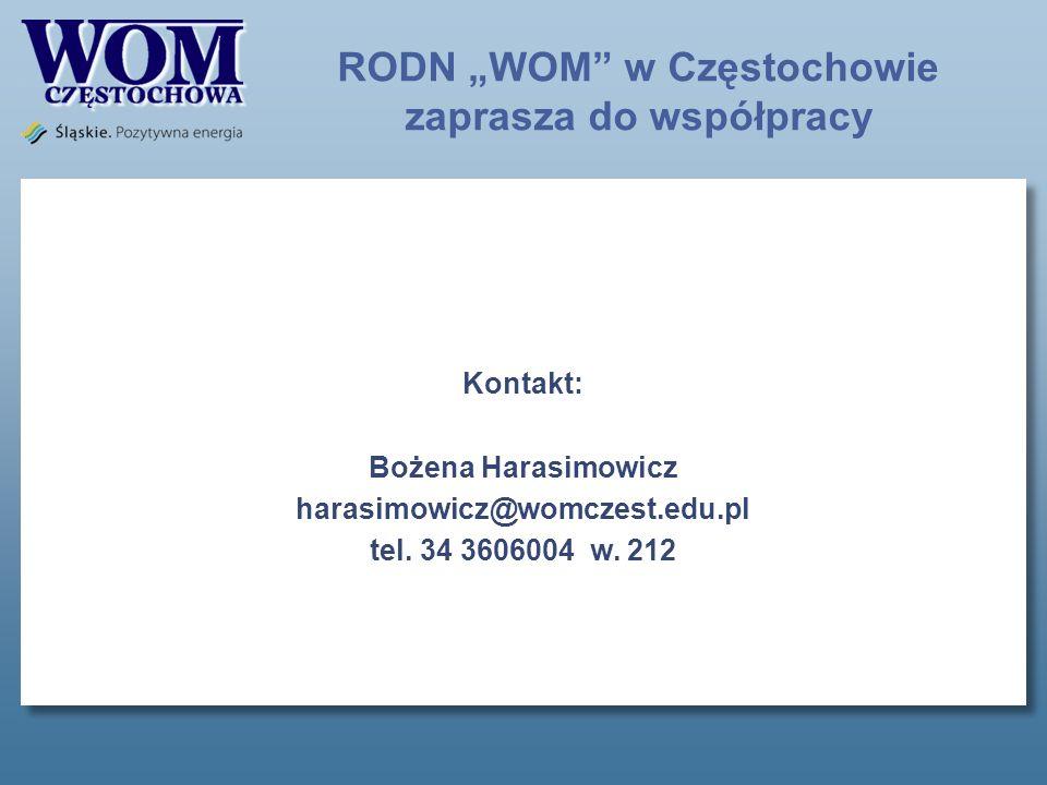 Kontakt: Bożena Harasimowicz harasimowicz@womczest.edu.pl tel.
