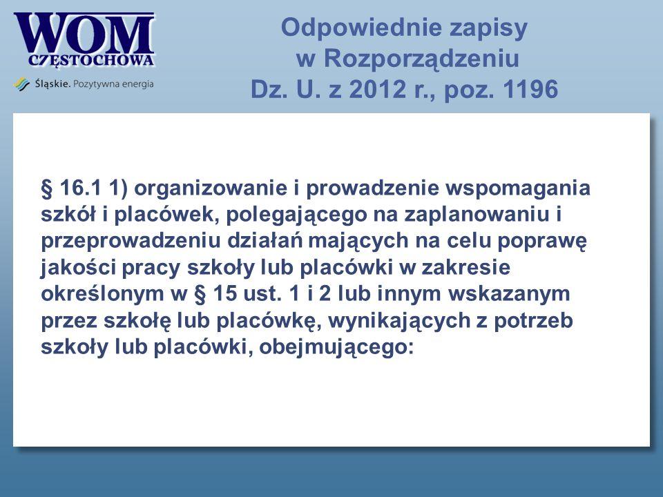 Odpowiednie zapisy w Rozporządzeniu Dz.U. z 2012 r., poz.