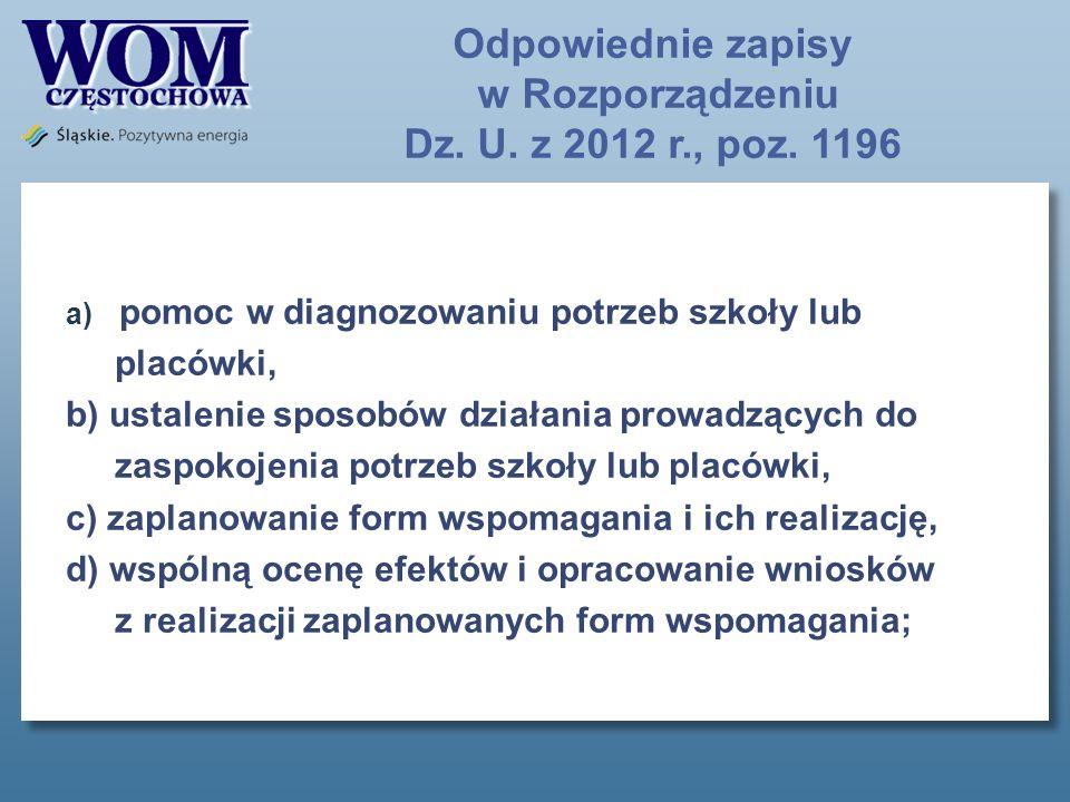 Odpowiednie zapisy w Rozporządzeniu Dz. U. z 2012 r., poz.