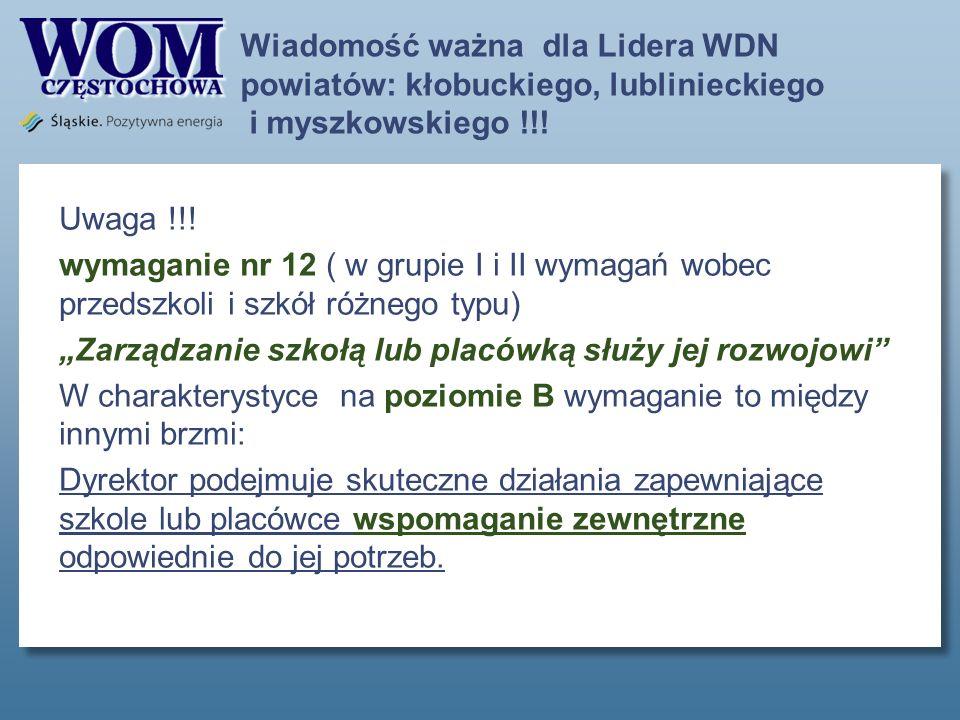 Wiadomość ważna dla Lidera WDN powiatów: kłobuckiego, lublinieckiego i myszkowskiego !!.