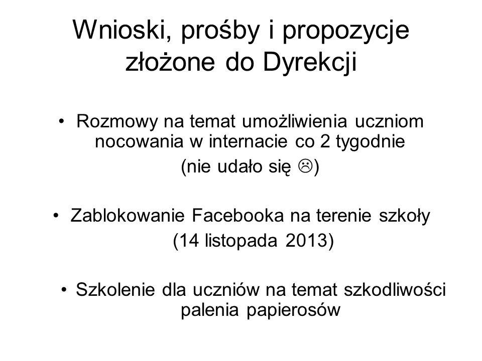 Wnioski, prośby i propozycje złożone do Dyrekcji Rozmowy na temat umożliwienia uczniom nocowania w internacie co 2 tygodnie (nie udało się ) Zablokowanie Facebooka na terenie szkoły (14 listopada 2013) Szkolenie dla uczniów na temat szkodliwości palenia papierosów
