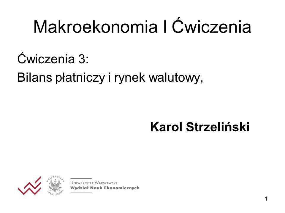 11 Makroekonomia I Ćwiczenia Ćwiczenia 3: Bilans płatniczy i rynek walutowy, Karol Strzeliński