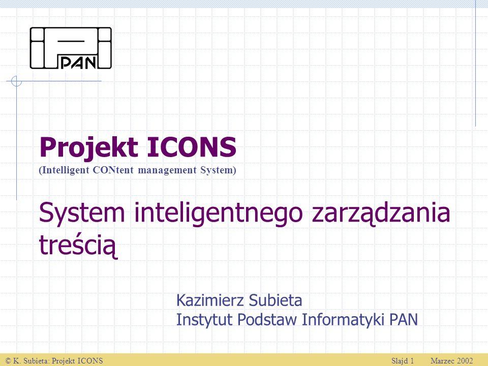© K. Subieta: Projekt ICONSSlajd 1 Marzec 2002 Projekt ICONS System inteligentnego zarządzania treścią Kazimierz Subieta Instytut Podstaw Informatyki