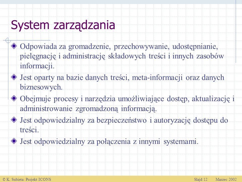 © K. Subieta: Projekt ICONSSlajd 12 Marzec 2002 System zarządzania Odpowiada za gromadzenie, przechowywanie, udostępnianie, pielęgnację i administracj