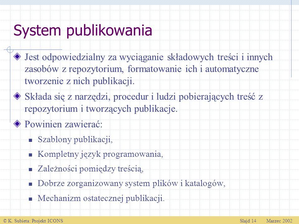 © K. Subieta: Projekt ICONSSlajd 14 Marzec 2002 System publikowania Jest odpowiedzialny za wyciąganie składowych treści i innych zasobów z repozytoriu