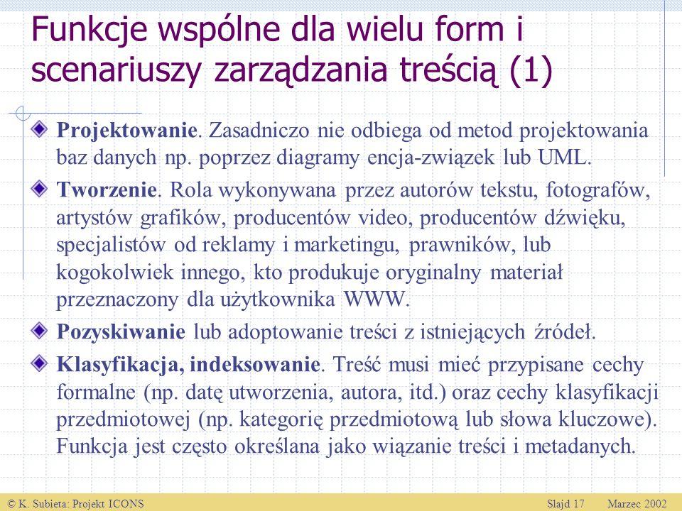 © K. Subieta: Projekt ICONSSlajd 17 Marzec 2002 Funkcje wspólne dla wielu form i scenariuszy zarządzania treścią (1) Projektowanie. Zasadniczo nie odb
