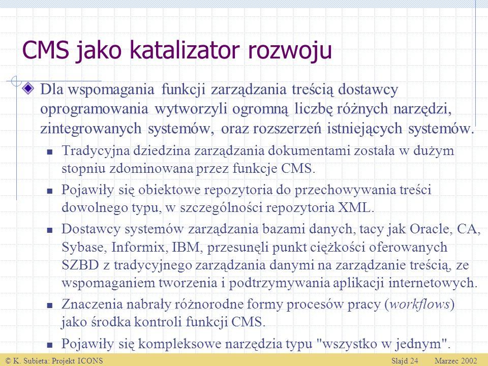 © K. Subieta: Projekt ICONSSlajd 24 Marzec 2002 CMS jako katalizator rozwoju Dla wspomagania funkcji zarządzania treścią dostawcy oprogramowania wytwo