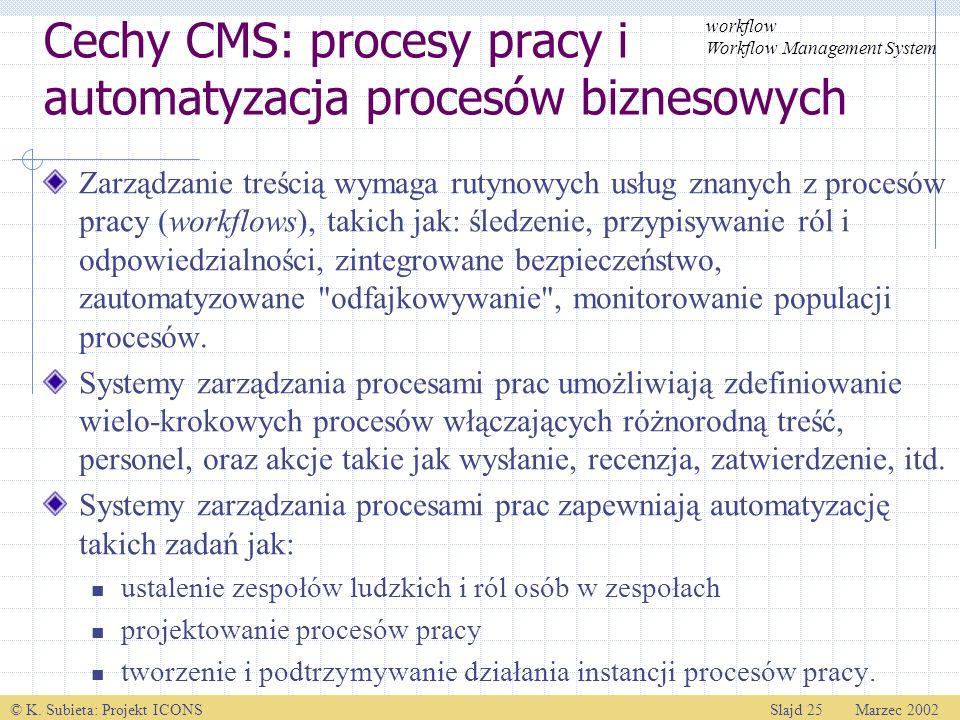 © K. Subieta: Projekt ICONSSlajd 25 Marzec 2002 Cechy CMS: procesy pracy i automatyzacja procesów biznesowych Zarządzanie treścią wymaga rutynowych us