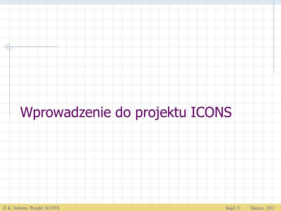 © K. Subieta: Projekt ICONSSlajd 31 Marzec 2002 Wprowadzenie do projektu ICONS
