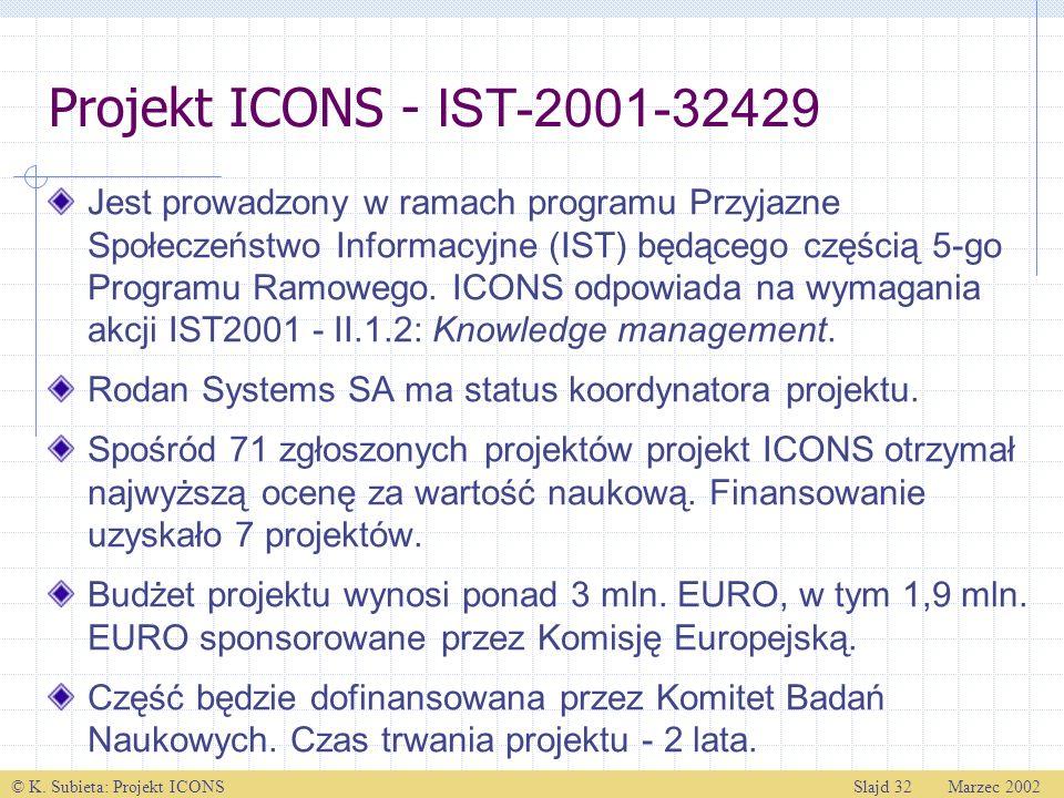 © K. Subieta: Projekt ICONSSlajd 32 Marzec 2002 Projekt ICONS - IST-2001-32429 Jest prowadzony w ramach programu Przyjazne Społeczeństwo Informacyjne