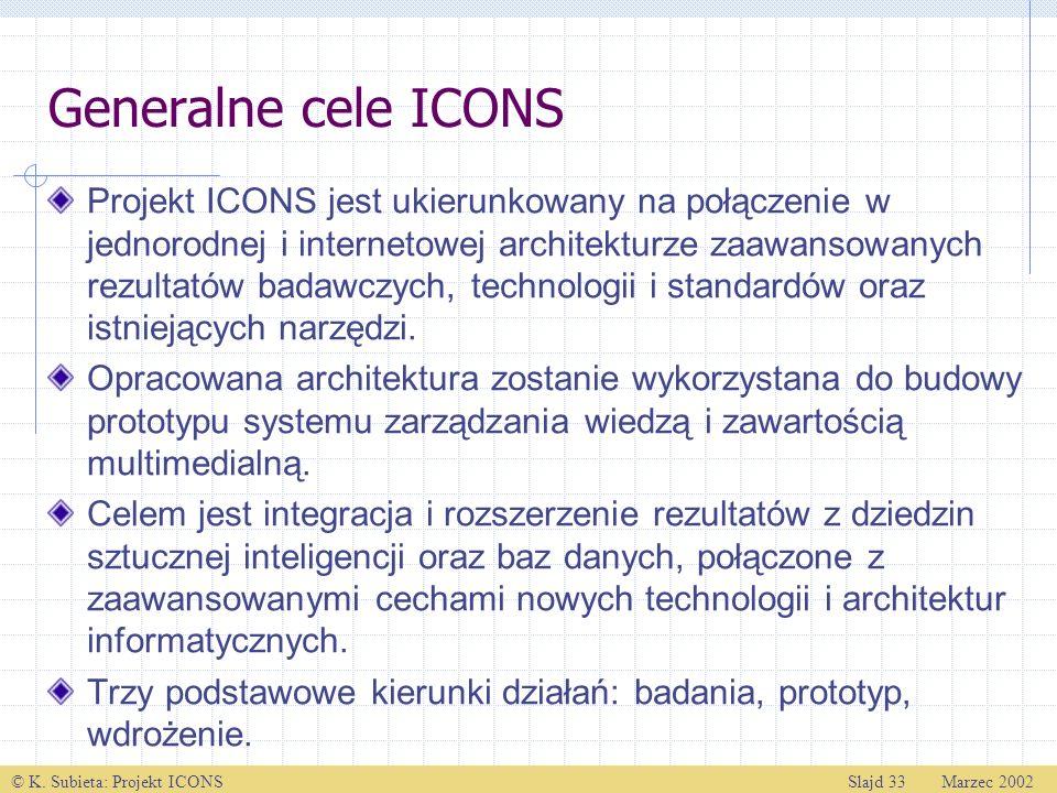 © K. Subieta: Projekt ICONSSlajd 33 Marzec 2002 Generalne cele ICONS Projekt ICONS jest ukierunkowany na połączenie w jednorodnej i internetowej archi