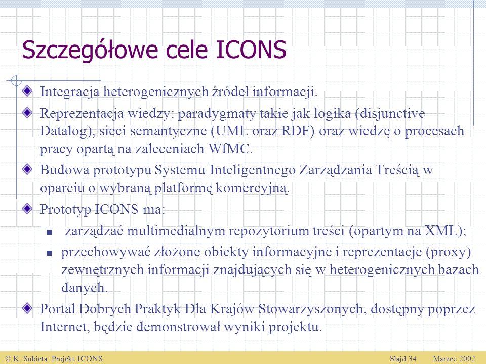 © K. Subieta: Projekt ICONSSlajd 34 Marzec 2002 Szczegółowe cele ICONS Integracja heterogenicznych źródeł informacji. Reprezentacja wiedzy: paradygmat