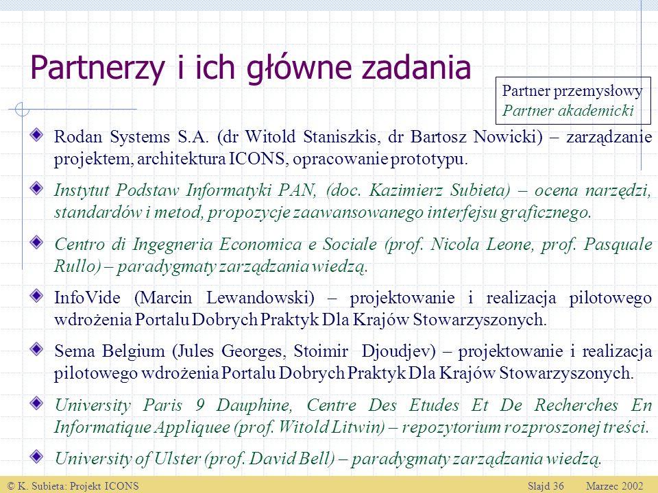 © K. Subieta: Projekt ICONSSlajd 36 Marzec 2002 Partnerzy i ich główne zadania Rodan Systems S.A. (dr Witold Staniszkis, dr Bartosz Nowicki) – zarządz