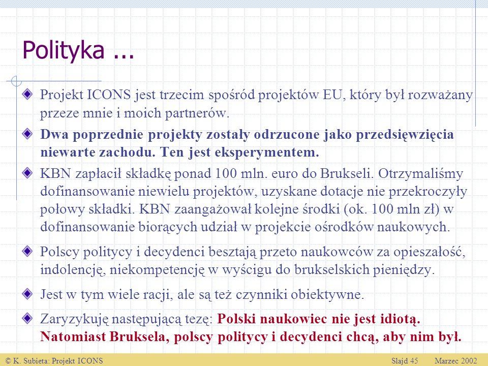 © K. Subieta: Projekt ICONSSlajd 45 Marzec 2002 Polityka... Projekt ICONS jest trzecim spośród projektów EU, który był rozważany przeze mnie i moich p