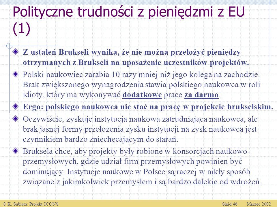 © K. Subieta: Projekt ICONSSlajd 46 Marzec 2002 Polityczne trudności z pieniędzmi z EU (1) Z ustaleń Brukseli wynika, że nie można przełożyć pieniędzy