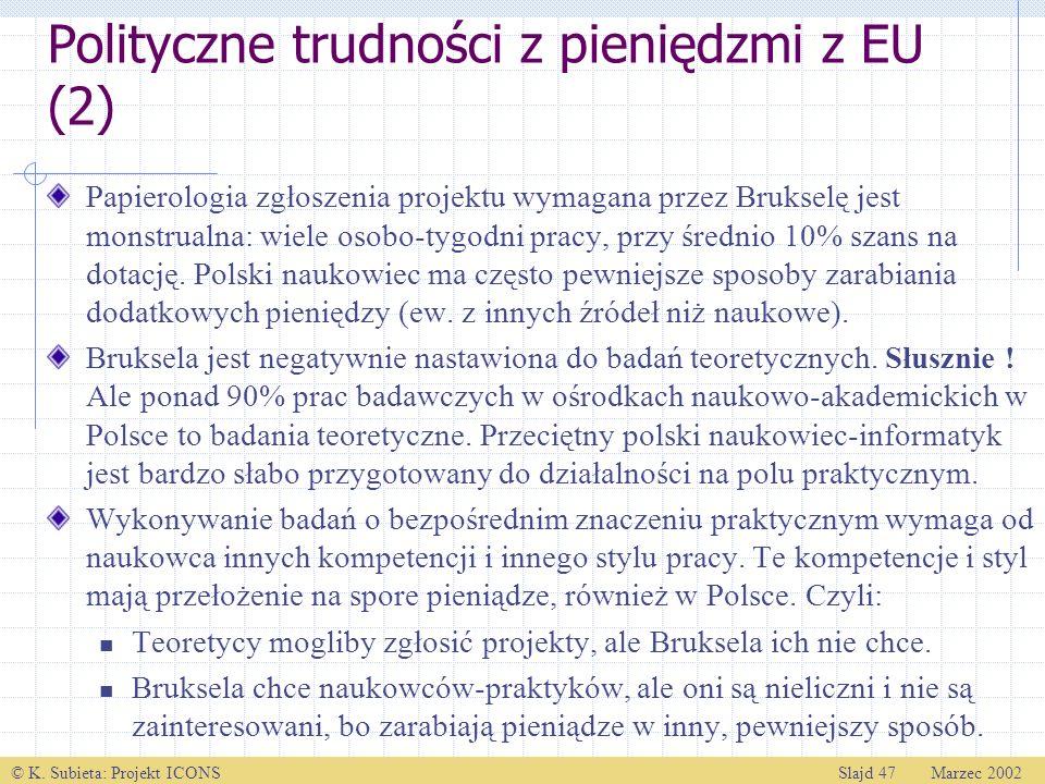 © K. Subieta: Projekt ICONSSlajd 47 Marzec 2002 Polityczne trudności z pieniędzmi z EU (2) Papierologia zgłoszenia projektu wymagana przez Brukselę je