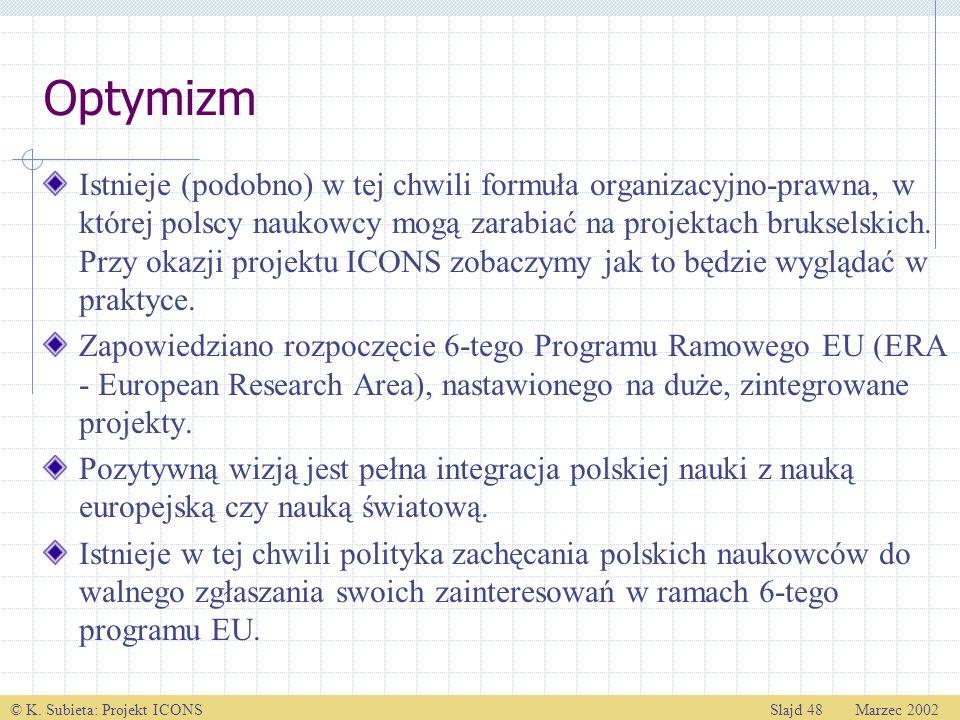 © K. Subieta: Projekt ICONSSlajd 48 Marzec 2002 Optymizm Istnieje (podobno) w tej chwili formuła organizacyjno-prawna, w której polscy naukowcy mogą z