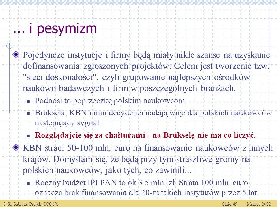 © K. Subieta: Projekt ICONSSlajd 49 Marzec 2002... i pesymizm Pojedyncze instytucje i firmy będą miały nikłe szanse na uzyskanie dofinansowania zgłosz