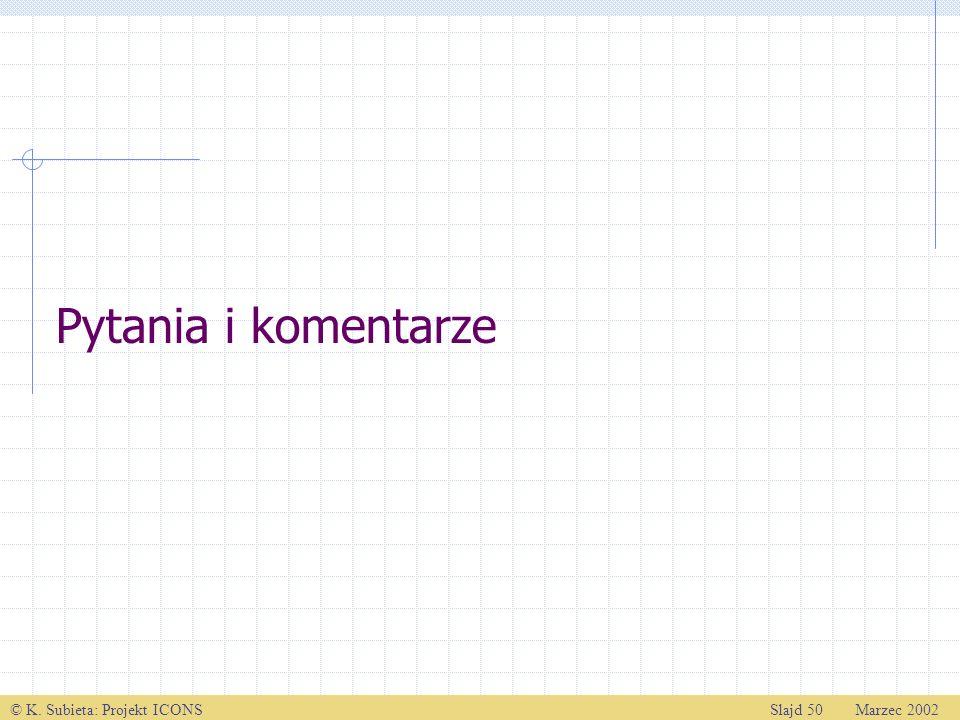 © K. Subieta: Projekt ICONSSlajd 50 Marzec 2002 Pytania i komentarze