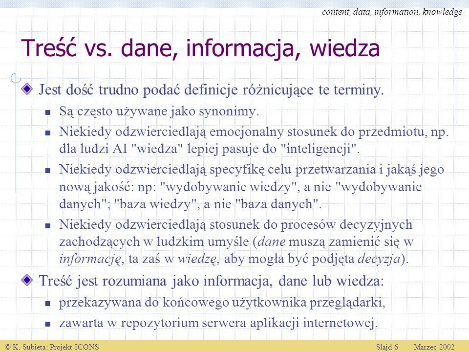 © K. Subieta: Projekt ICONSSlajd 6 Marzec 2002 Treść vs. dane, informacja, wiedza Jest dość trudno podać definicje różnicujące te terminy. Są często u