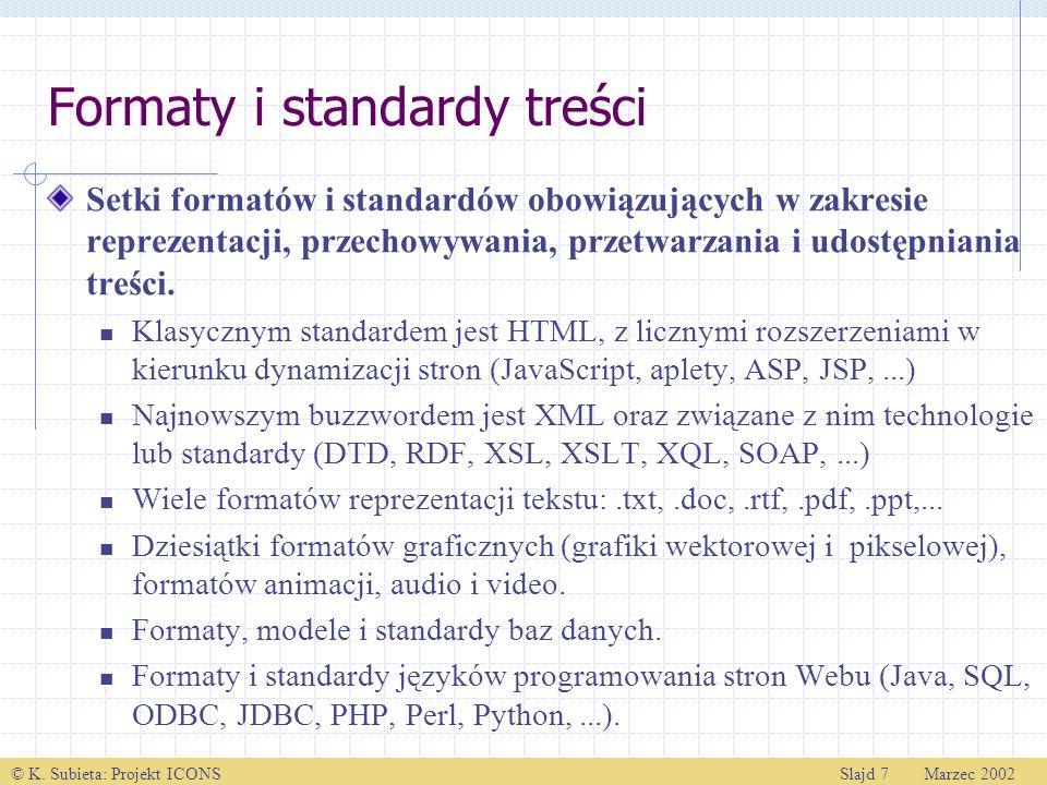 © K. Subieta: Projekt ICONSSlajd 7 Marzec 2002 Formaty i standardy treści Setki formatów i standardów obowiązujących w zakresie reprezentacji, przecho