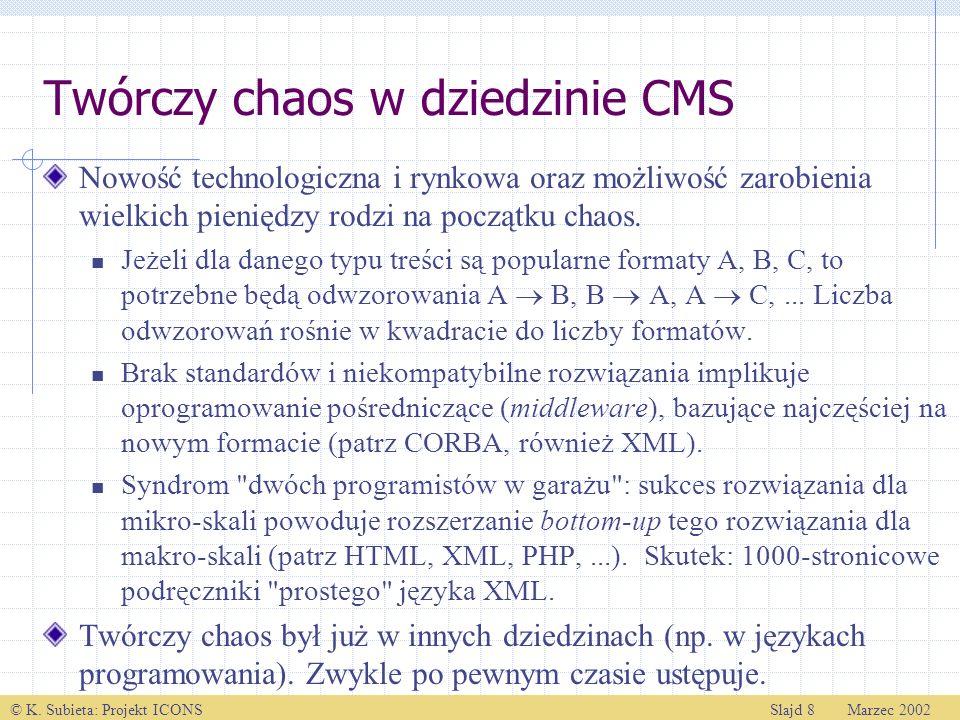© K. Subieta: Projekt ICONSSlajd 8 Marzec 2002 Twórczy chaos w dziedzinie CMS Nowość technologiczna i rynkowa oraz możliwość zarobienia wielkich pieni