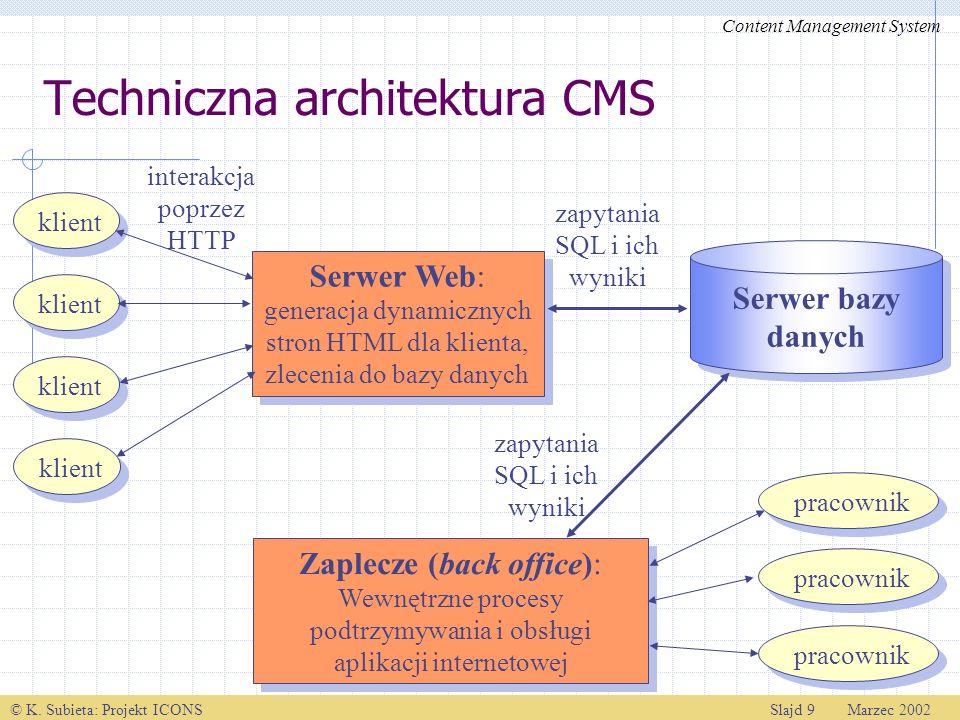 © K. Subieta: Projekt ICONSSlajd 9 Marzec 2002 klient Serwer Web: generacja dynamicznych stron HTML dla klienta, zlecenia do bazy danych Serwer Web: g