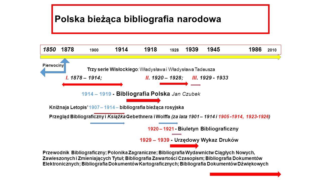 Polska bieżąca bibliografia narodowa 1850 1878 1900 1914 1918 1928 1939 1945 1986 2010 I. 1878 – 1914; II. 1920 – 1928; III. 1929 - 1933 Trzy serie Wi
