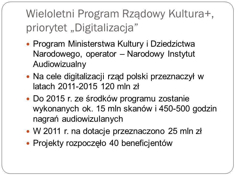Wieloletni Program Rządowy Kultura+, priorytet Digitalizacja Program Ministerstwa Kultury i Dziedzictwa Narodowego, operator – Narodowy Instytut Audiowizualny Na cele digitalizacji rząd polski przeznaczył w latach 2011-2015 120 mln zł Do 2015 r.