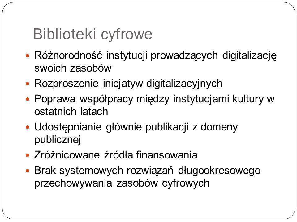Biblioteki cyfrowe Różnorodność instytucji prowadzących digitalizację swoich zasobów Rozproszenie inicjatyw digitalizacyjnych Poprawa współpracy między instytucjami kultury w ostatnich latach Udostępnianie głównie publikacji z domeny publicznej Zróżnicowane źródła finansowania Brak systemowych rozwiązań długookresowego przechowywania zasobów cyfrowych