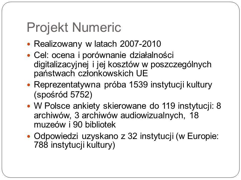 Projekt Numeric Realizowany w latach 2007-2010 Cel: ocena i porównanie działalności digitalizacyjnej i jej kosztów w poszczególnych państwach członkowskich UE Reprezentatywna próba 1539 instytucji kultury (spośród 5752) W Polsce ankiety skierowane do 119 instytucji: 8 archiwów, 3 archiwów audiowizualnych, 18 muzeów i 90 bibliotek Odpowiedzi uzyskano z 32 instytucji (w Europie: 788 instytucji kultury)