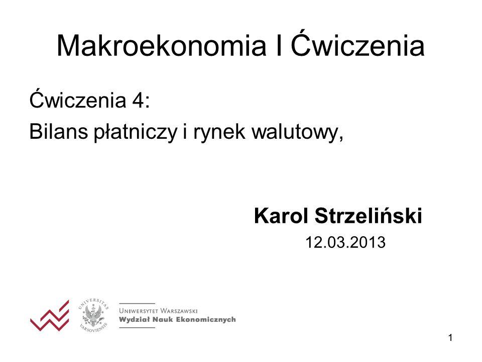 11 Makroekonomia I Ćwiczenia Ćwiczenia 4: Bilans płatniczy i rynek walutowy, Karol Strzeliński 12.03.2013