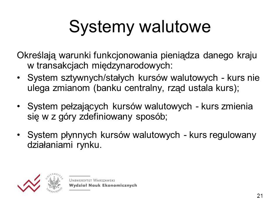 21 Systemy walutowe Określają warunki funkcjonowania pieniądza danego kraju w transakcjach międzynarodowych: System sztywnych/stałych kursów walutowych - kurs nie ulega zmianom (banku centralny, rząd ustala kurs); System pełzających kursów walutowych - kurs zmienia się w z góry zdefiniowany sposób; System płynnych kursów walutowych - kurs regulowany działaniami rynku.