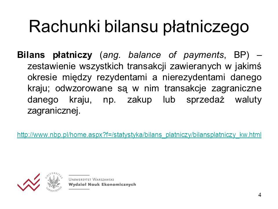 4 Rachunki bilansu płatniczego Bilans płatniczy (ang. balance of payments, BP) – zestawienie wszystkich transakcji zawieranych w jakimś okresie między