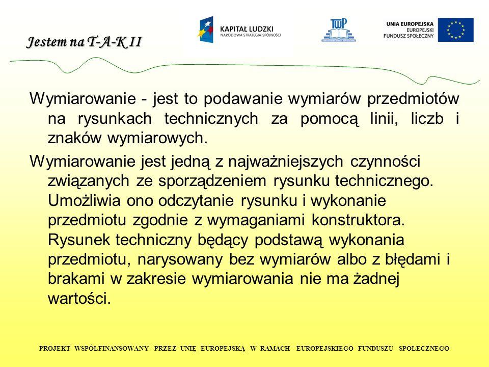 Jestem na T-A-K II PROJEKT WSPÓŁFINANSOWANY PRZEZ UNIĘ EUROPEJSKĄ W RAMACH EUROPEJSKIEGO FUNDUSZU SPOŁECZNEGO Podstawowe zasady wymiarowania w rysunku technicznym dotyczą: stawiania wszystkich wymiarów koniecznych niepowtarzania wymiarów niezamykania łańcuchów wymiarowych pomijania wymiarów oczywistych