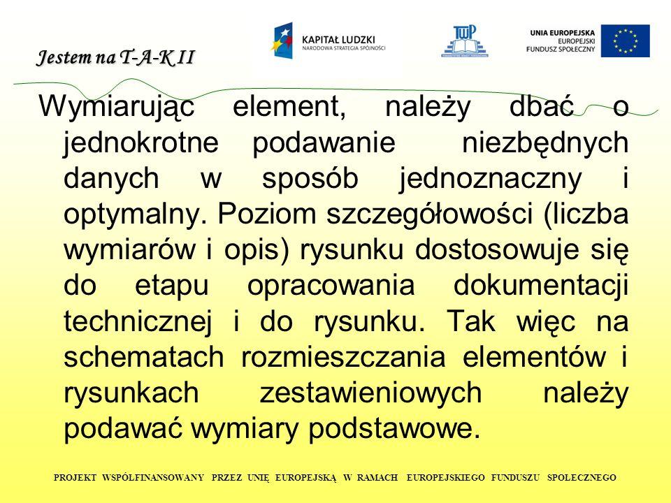 Jestem na T-A-K II PROJEKT WSPÓŁFINANSOWANY PRZEZ UNIĘ EUROPEJSKĄ W RAMACH EUROPEJSKIEGO FUNDUSZU SPOŁECZNEGO Wymiarowanie i opisywanie elementów wykonuje się za pomocą linii wymiarowych, pomocniczych linii wymiarowych, znaków ograniczenia, liczb i symboli.