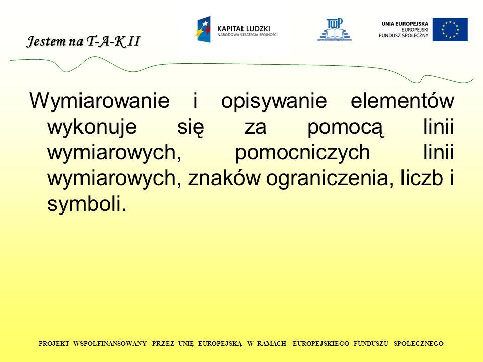 Jestem na T-A-K II PROJEKT WSPÓŁFINANSOWANY PRZEZ UNIĘ EUROPEJSKĄ W RAMACH EUROPEJSKIEGO FUNDUSZU SPOŁECZNEGO Wymiarowanie i opisywanie elementów wyko